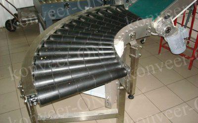 Роликовый конвейер приводной поворотный