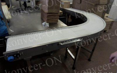 Конвейер с модульной лентой поворот 90градусов