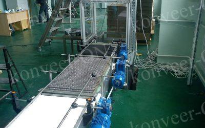 Конвейер с роликовой модульной лентой прямой